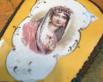 Antique Brass and Porcelain Hand Mirror. Princess Josephine Image