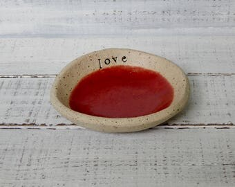 LOVE - candle bowl - Jewelry Dish- Ring Holder- food prep- salt cellar- candle dish- trinket dish - flower bowl- small bowl-shower red