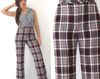 SUMMER SALE / 20% off Vintage 70s 80s Jackfin High Waisted Black Grey Red and White Plaid High Waisted Wide Legged Wool Trousers