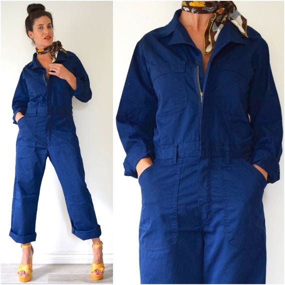 SUMMER SALE / 20% off Vintage 80s 90s Navy Blue Utility Coveralls (size small, medium)