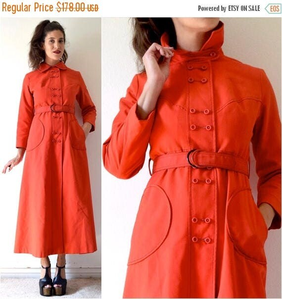 SUMMER SALE / 20% off Vintage 60s 70s Debutogs New York Tomato Red Mod Belted Trench Coat (size xs, small)