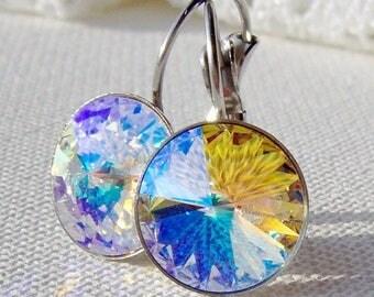 SALE Crystal glacier blue rhinestone leverback earrings / aurora borealis / Surgical steel / Hypoallergenic earrings / Swarovski / gift for