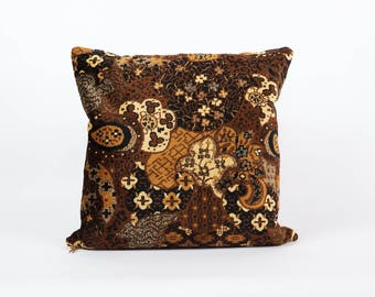 Brown Velvet DesignerPillow - 20x20, pillow cover, upholstery fabric, vintage fabric, mid century home decor, handmade by EllaOsix