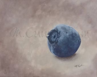 "Original Fine Art Painting - Acrylic on Canvas - 11"" x 14"" - Simple Blueberry Still Life Artwork"
