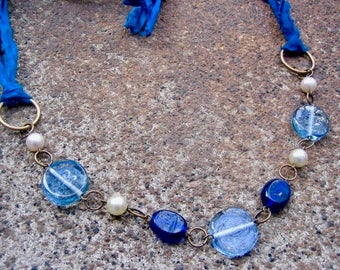 Eco-Friendly Silk Ribbon Statement Necklace - Beyond the Sea - Recycled Sari Silk Ribbon, Vintage Glass Beads and Pearls in Blue and White