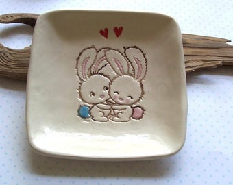 Some bunnies in love New Large Square dish