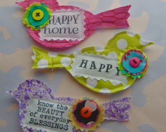 Fabric Bird Applique Embellishments Set of Three