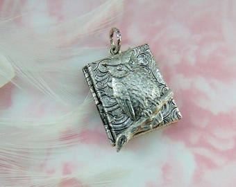 CLOSEOUT Antique Silver Owl on Branch Book Tapestry Locket ~ Pendant