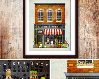 Westie West Highland terrier storefront dog flower shop graphic art UNFRAMED print by Stephen Fowler Pick A Size