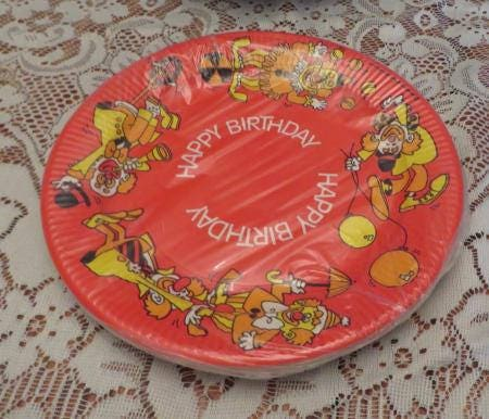 Vintage 70s Paper Plates 8 Dinner Silly Clowns NOS Birthday Party RETRO Bright Clown Funky New & Vintage 70s Paper Plates 8 Dinner Silly Clowns NOS Birthday Party ...