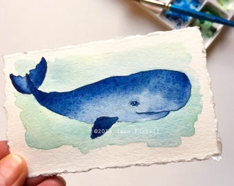 Happy Whale Tiny original watercolor OOAK Free shipping