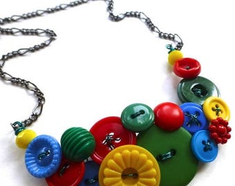 Christmas in July Sale Funky Button Necklace in Primary Red, Yellow, and Blue plus Green