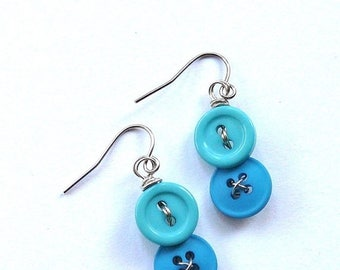 BUTTON JEWELRY SALE Blue Vintage Button Dangle Earrings - Bright Jewelry for a pop of color