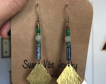 Diamond sodalite earrings
