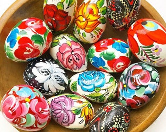 Eggscallent... Vintage Hand Painted Hand Painted Wooden Wood Eggs Ukranian Handmade Folk Art Pysanka Instant Collection of 13 Thirteen
