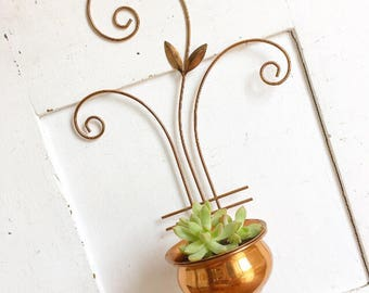 Put A Plant In It... Vintage Copper Planter Wall Hanging Sconce Mid Century Modern Boho Bohemian Farmhouse Decor Succulent Plant Flower Pot