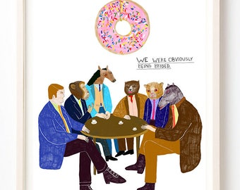 Food Art, Donuts, Sweets, Humor, Animals, Writing, Quirky, Monkey, Unique Wall Art, Horse, They Were Obviously Being Bribed- Fine Art Print