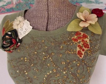 ON SALE Repurposed Knit Top, Olive Green, Gold, Boho, Altered Couture, Handmade Flowers, Lace, WAS 34