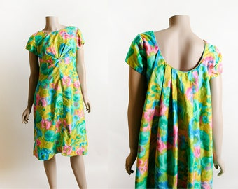Vintage Hawaiian Dress - Alice 1960s Watercolor Floral Print Draped Back Cotton Tiki Tropical Dress - Knee Length - Island - Small Medium