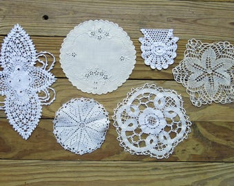 Vintage & Antique Lace Embellishment Lot...Flourish, Medallion, Applique, Whitework Embroidery Collection...early to mid 1900s, EL1722