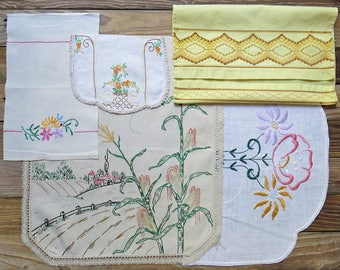 Vintage Embroidered Linen Lot, Salvage Remnants #62...Yellow, Orange, Green, Country Scene, Colorful Embroidery...Mixed Lot,Scrap Collection