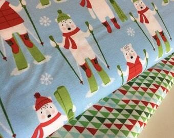 Christmas fabric, Racoon fabric, nursery Decor, novelty fabric, Fabric Bundle of 2, Choose The Cuts