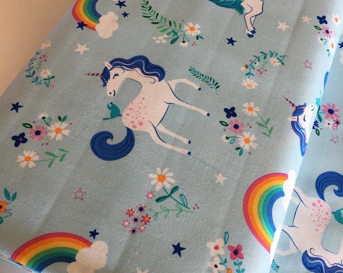 Unicorn fabric, Rainbow fabric, Girls Nursery Decor, Blue Quilt, Retro Style Fabric, Robert Kaufman, Unicorn in Blue, Choose your cut