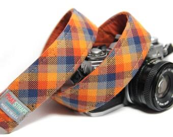 Orange Check Camera Strap - Orange and Navy Plaid, The Ranger