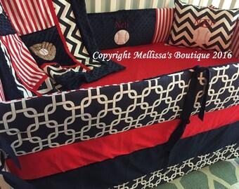 Custom Baseball Americana Crib Bedding Set Red White & Navy Blue Baby Nursery Chevron Monogram CHOOSE and CUSTOMIZE