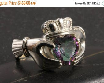 CLOSING SALE Large Claddagh ring with alexandrite mystic topaz  in sterling silver - Size 12