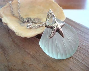 Starfish and Scallop Necklace Green Sea Glass Silver Jewelry Beachy Resort Summer Jewelry Bridesmaid Necklace Gifts Under 30 Beach Glass