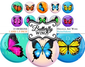 Butterfly Digital Circle Images, Bottlecap Images, 1.5 Round, Bottle Cap Images, Collage Sheet, 1.5 Inch Digital Images, 1 Inch Graphics