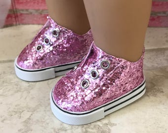 Girl Doll Sneakers, Pink Glitter Doll Shoes, 18 inch Doll Tie less Sneakers, American Doll Pink Glitter Shoe, Girl Doll Shoes, Ready to ship