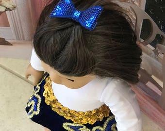 Girl Doll Dance Recital Royal Blue, Gold tutu, white leotard, blue glitter hair clip American Doll 18 inch doll clothes 15 inch doll clothes