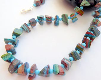 Rainbow Casilica Sleeping Beauty Turquoise Sterling Silver Necklace Southwestern Western Rustic Style Multi Colored Gemstone Necklace