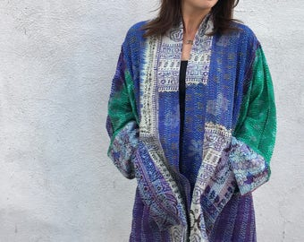Beautiful vintage upcycled silk kantha kimono/jacket