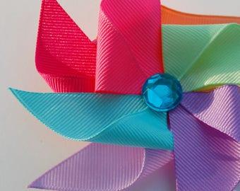 Pinwheel Hair Clip Bow Summer Ribbon Sculpture