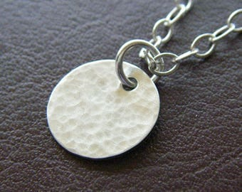 Sterling Silver Necklace - Petite Sterling Silver Hammered Circle Necklace