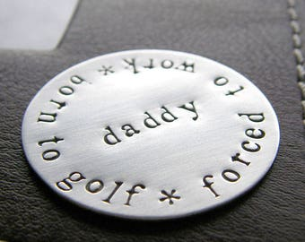 Custom Hand Stamped Jumbo Golf Marker - Personalized Sterling Silver Keepsake Token - Perfect Gift for Father's Day