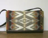 RESERVED for Carlene Wool Cross Body Bag Purse Brown Leather Native American Southwest Blanket Wool