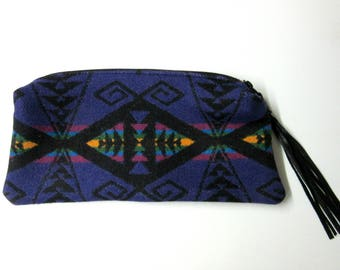 Large Wool Zippered Pouch Clutch Bag Accessory Organizer Cosmetic Bag Native American Print