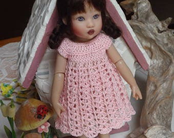 Crochet outfit for Helen Kish Riley Betsy McCall Doll 7 8 inch slim doll Dress Pink