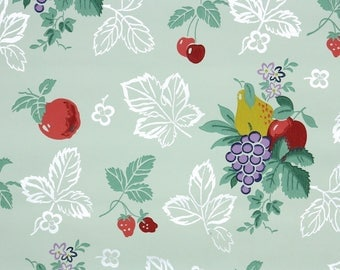 1940s Vintage Wallpaper by the Yard - Kitchen Wallpaper with Fruit on Green