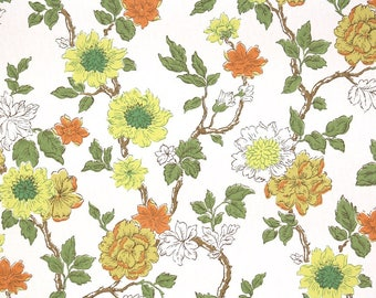 1960s Vintage Wallpaper by the Yard - Yellow and Orange Floral Wallpaper