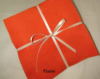 Solid FLAME ORANGE, FLANNEL Fabric Squares,  Rag Quilt, Traditional Quilting, pick size & quantity, We Cut You Sew