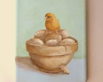 Egg Bowl painting original baby Chicken still life art vintage mixing bowl