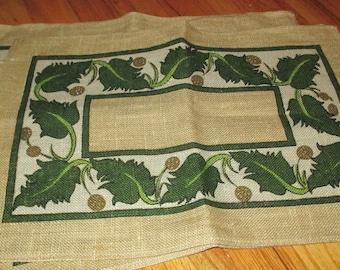 Vintage Irish Leaf Motif Jute Linen Placemats Placemat LOT of Four