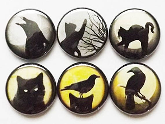 Button Pins Black Cats Ravens pinbacks badges magnets halloween crows party favors stocking stuffers trick or treat bags goth spooky gifts