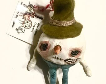 Zombie snowman Spun Cotton Ornament---Christmas tree Holiday Hand painted Doll Decoration