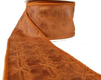 """Copper Orange Tones Laced Faux Leather Wired Ribbon  2.5"""" Wide"""